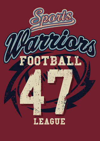 the varsity: Sports Warriors Football league on a red background.