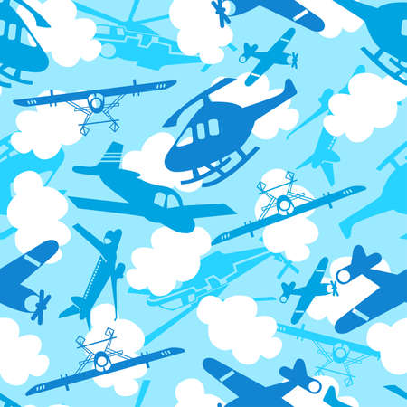 passanger: Traveling in the sky seamless pattern.