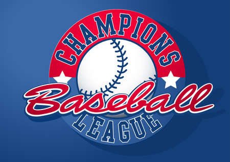 champions league: Baseball Champions league with ball. Illustration