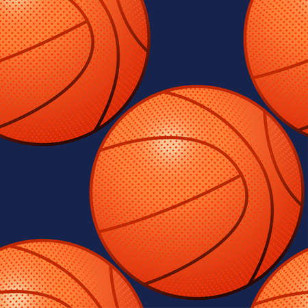 An orange basketball seamless pattern in a 3D style. Vector