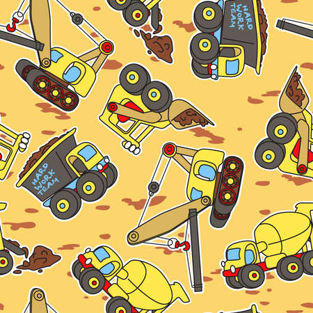 truck crane: Hard work team seamless pattern.