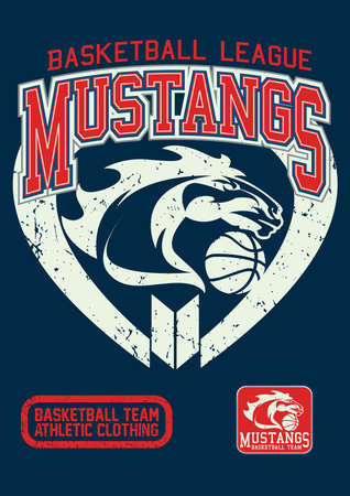basketball ball: Mustangs basketball league on a navy background.
