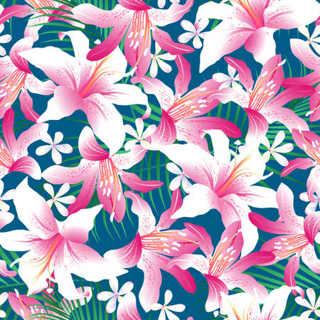 frangipani flower: Tropical hibiscus floral 3 seamless pattern. Illustration