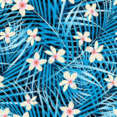 Palm leaves blue seamless pattern with frangipani flowers.