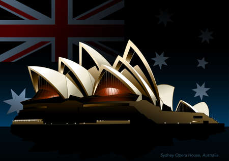 Sydney opera house at night with the Australian flag in background. Vector Illustration