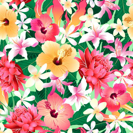 Tropical hibiscus floral 4 seamless pattern.