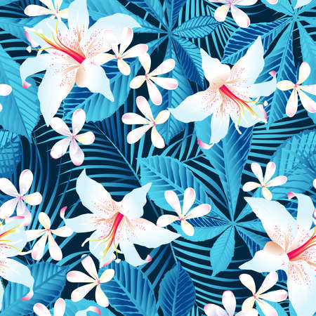 Tropical hibiscus floral 5 seamless pattern.