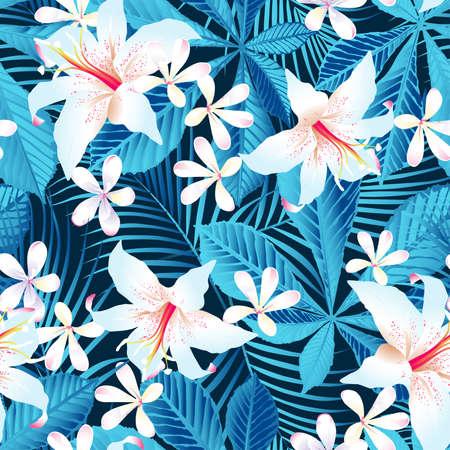 Tropical hibiscus floral 5 seamless pattern. Фото со стока - 29199953