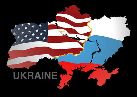 rus: Ukraine map US V RUS. Illustration