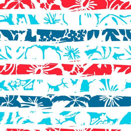 Hibiscus tropical stripe seamless pattern .
