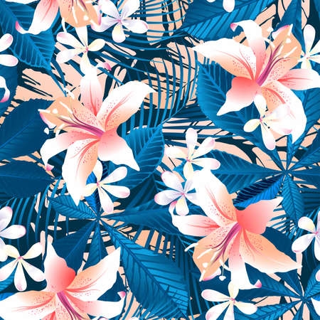 Tropical hibiscus floral 6 seamless pattern .