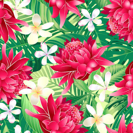 Tropical hibiscus floral 7 seamless pattern .
