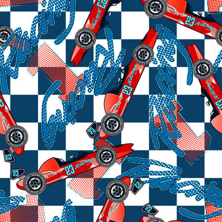 racer flag: Open wheel racing seamless pattern .