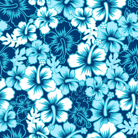A Surf floral hibiscus seamless pattern .
