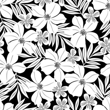 White tropical flower on a black background seamless pattern . Vector