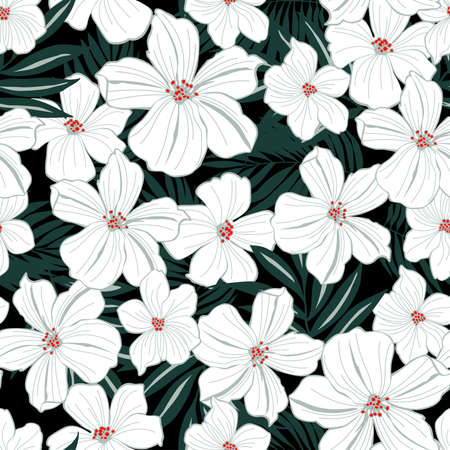 White tropical flowers seamless pattern .