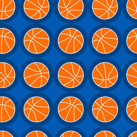 Basketball sports seamless pattern on a blue background .