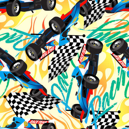 Racing with checkered flag seamless pattern . Vector