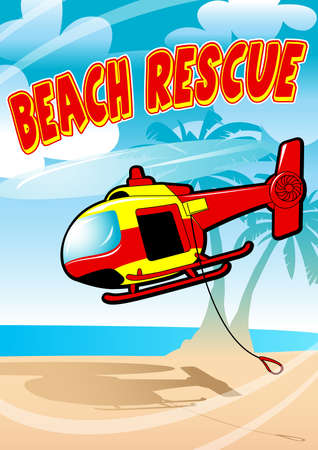 helicopter rescue: Tropical beach rescue helicopter flying on a beach . Illustration