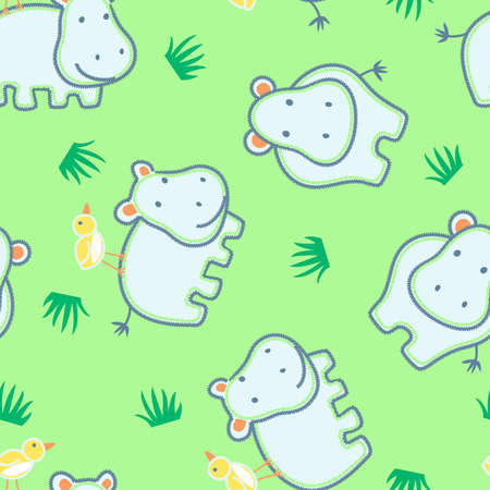 Happy hippo with friendly bird seamless pattern . Vector