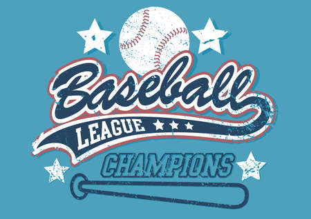Baseball league champions on a light blue background. Vector