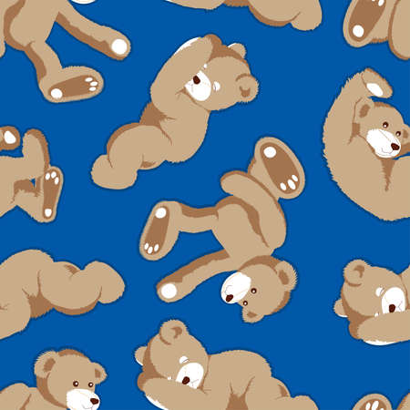 blue background: Rolling teddy bear seamless pattern on a blue background.
