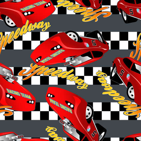 speedway: Speedway racing seamless pattern with checkered stripe.