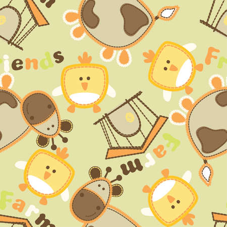 bard: Farm friends with cow and bird seamless pattern .