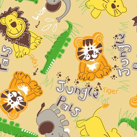 pals: Jungle pals wild animals seamless pattern .