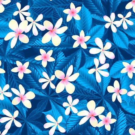 Tropical frangipani floral seamless pattern . Ilustração