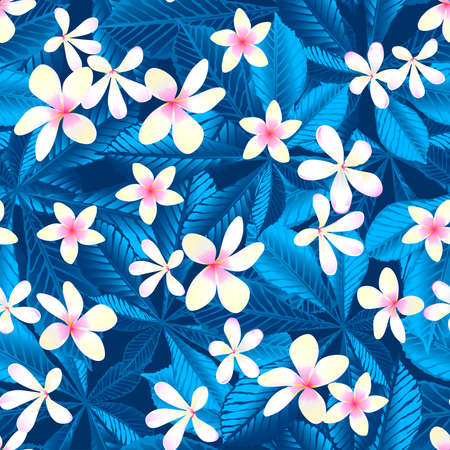frangipani: Tropical frangipani floral seamless pattern . Illustration