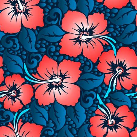 Tropical red hibiscus floral 10 seamless pattern . Ilustração