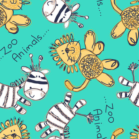 sleepwear: Zebra and lion seamless pattern with embroidery
