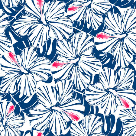 Blue tropical hibiscus and palm seamless pattern Фото со стока - 30550627