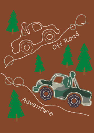 4wd: Off road adventure stitching with 4WD Illustration