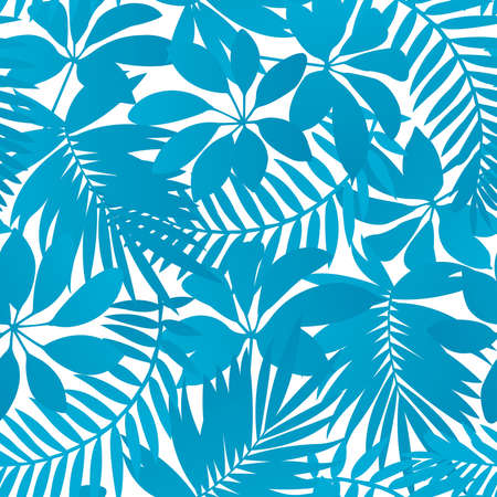 Blue tropical leaves seamless pattern