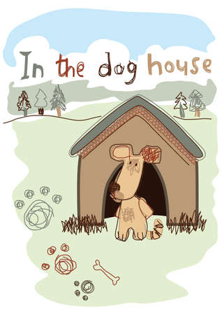k9: In the dog house embroidery illustration   Illustration