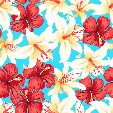 Red, white and yellow tropical hibiscus flowers seamless pattern