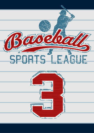 Baseball sports league embroidery design on stripes Vector