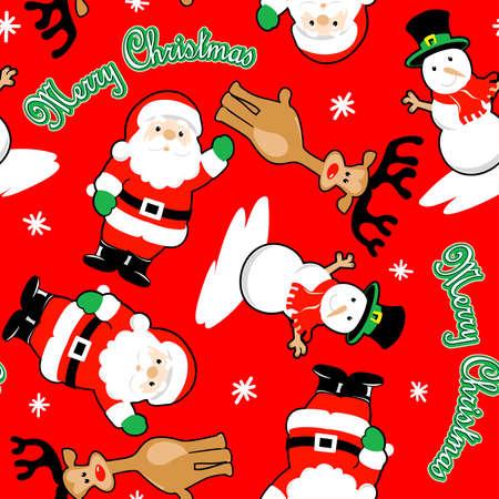 christmas seamless pattern: Santa and friends merry christmas seamless pattern . Illustration