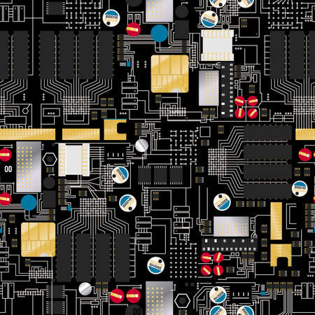 hertz: Circuit board with components and wires seamless pattern .