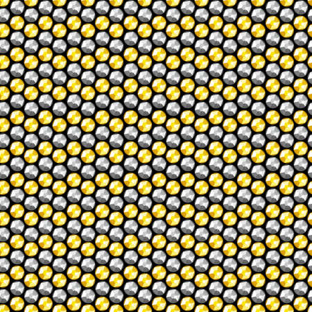 Gold and silver crystal sequins seamless pattern . Vector