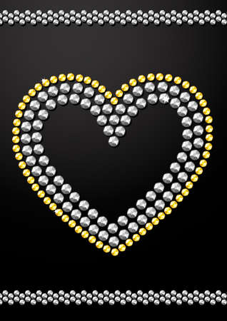 Silver and gold crystal sequins heart design .