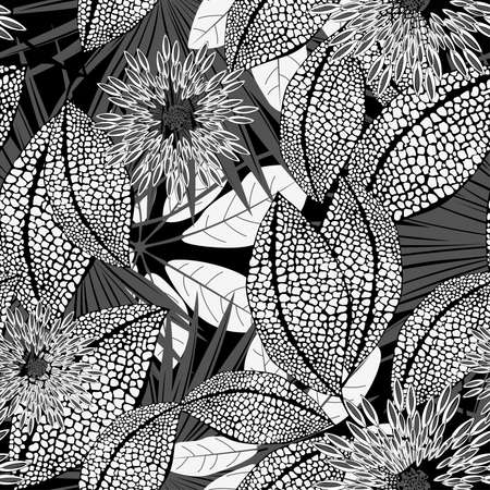 spotted flower: Tropical black and white spotted flowers in a seamless pattern . Illustration