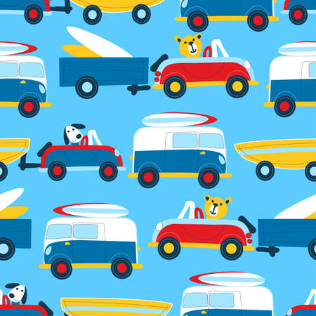 Travel to the beach seamless pattern . Vector