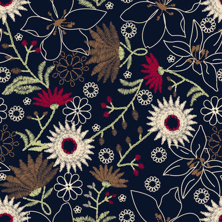 stitching: Tropical embroidery floral design in a seamless pattern .