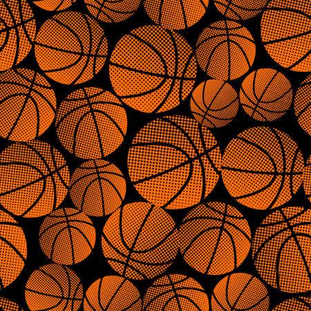 Basketball halftone gradient seamless pattern .