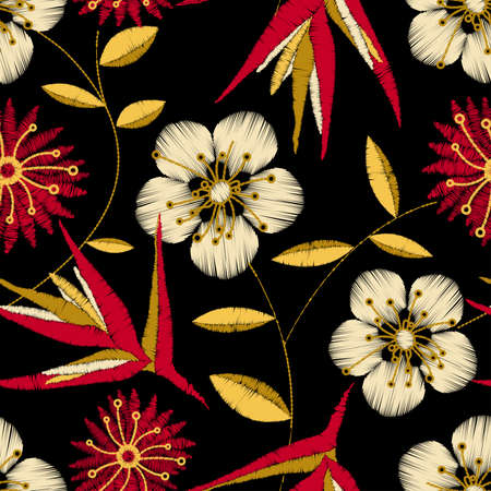Tropical detailed embroidery floral design in a seamless pattern . Vector