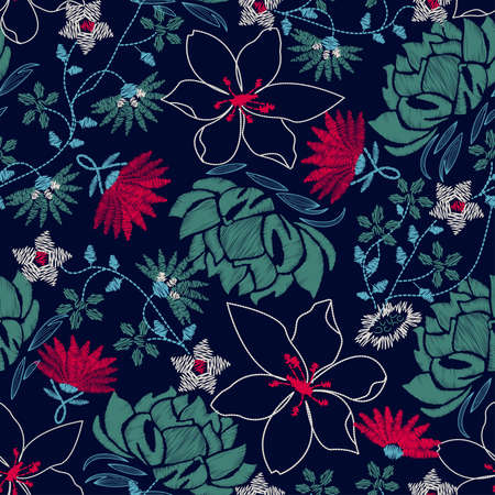 Tropical embroidery lush floral design in a seamless pattern .