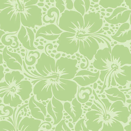 Tropical Hawaiian hibiscus floral seamless pattern . Иллюстрация